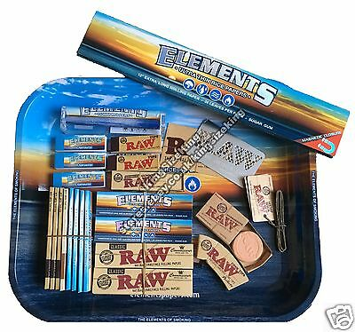 Elements Large Metal Rolling Tray Set, King Size Papers, Tips - Tray 34cm x 28cm