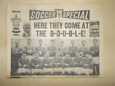 VINTAGE NEWSPAPER THE STAR MARCH 27th 1965 MANCHESTER UNITED v LEEDS FA CUP SEMI