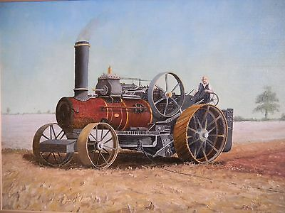 Fowler Steam Plough, Traction Engine, Vintage Tractor. Original Oil Painting.