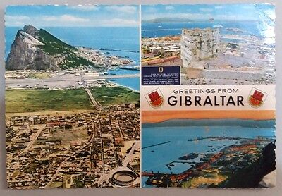 Gibraltar postcard: Greetings from Gibraltar, multiple views, posted with stamp.