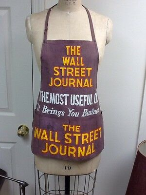 Vintage 1930's Wall Street Journal Newspaper Apron from New York USA