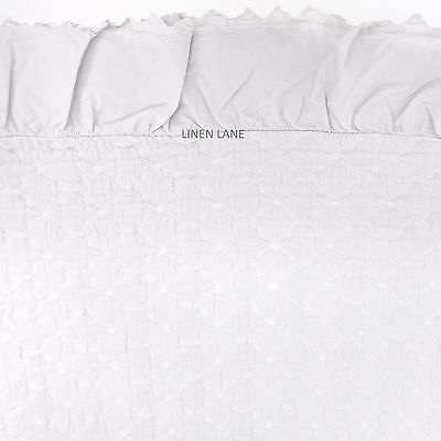 PORTUGAL Cotton QUEEN COVERLET Grey Shabby Eyelet Ruffle MATELASSE PiuBelle Chic