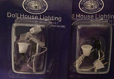 Dolls House Pair of Single Wall Lights 1:12 Scale