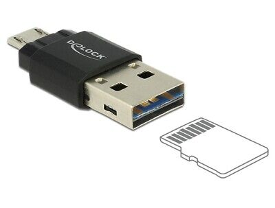 Delock Micro USB OTG CardReader + USB 2.0 A male for PC/laptop/tablet/smartphone