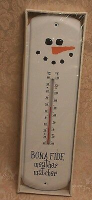 Large Thermometer Snow Man Bonafide Weather Watcher New