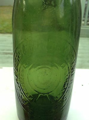 Scarborough & Whitby Brewery Pint Light Green Pictorial Old Beer Bottle C1890