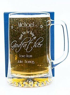 (GD) Engraved/Personalised GODFATHER Pint Glass Tankard Gift For Christening