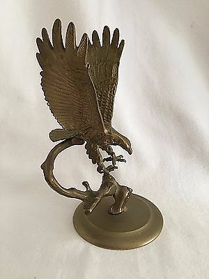 American Eagle Solid Brass Spread Wing 2 Pc Open Talon Paperweight Vintage