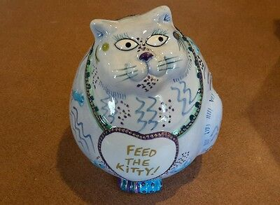 """Fitz & Floyd Cash Critters """"Feed The Kitty"""" Ceramic Cat Bank"""