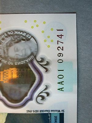 AA01 low serial number 5 pound note