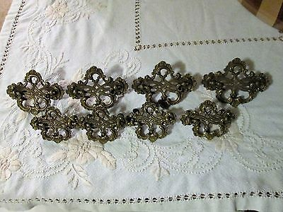 "8 Antique brass Victorian Ornate Drawer Pulls Handles 4 large 4"" 4 smaller 3"""