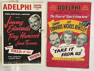 2Programmes. JIMMY EDWARDS at the Adelphi Theatre. 1950s.