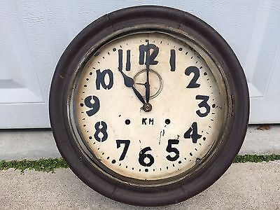 Antique Handmade Clock For Parts Industrial Style Wood And Tin Restore Project