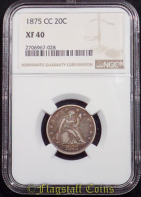 1875-CC Twenty Cent 20 Seated Liberty Silver Piece - NGC XF40 Key Date