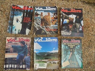 Via Libre railway magazine (Spanish): 6 copies dating from Feb 1982 to Oct 1998