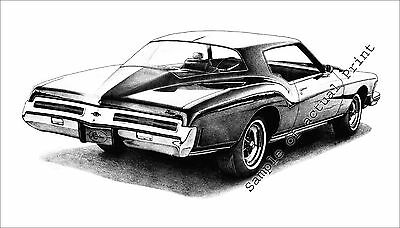 Beautiful 1973 (73) Buick Riviera signed 11x17 drawing/picture/print