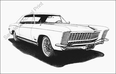 Beautiful 1965 (65) Buick Riviera signed drawing/picture/print (11 x 17)
