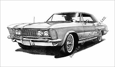 Beautiful 1963 (63) Buick Riviera signed drawing/picture/print (11 x 17)