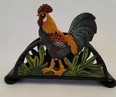 Rooster Napkin Holder Wrought Iron Kitchen Decor Home Organization Collectibles