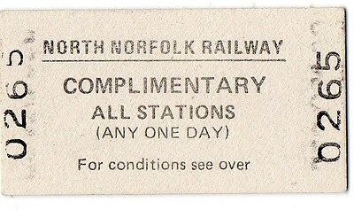 Railway Ticket. 1993 North Norfolk Railway. Complimentary All Stations