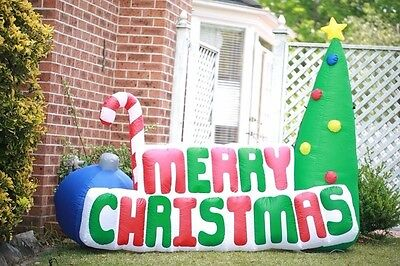180cm Merry Christmas Sign Letter Sign Xmas Tree Lights Inflatable Party Kids
