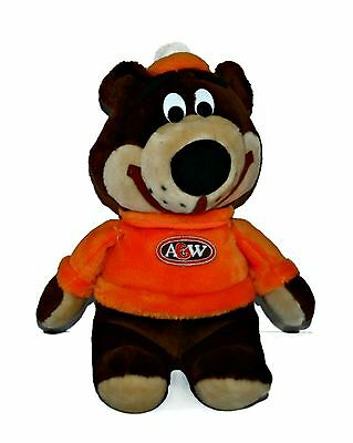 """Vintage A&W Mascot Root Bear ROOTY 17"""" Plush Stuffed Toy Advertising Root Beer"""