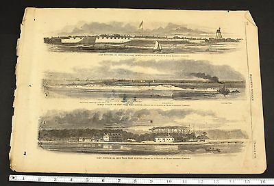 1861 US Civil War Harper's Weekly Fort Moultrie Morris Island and Fort Johnson