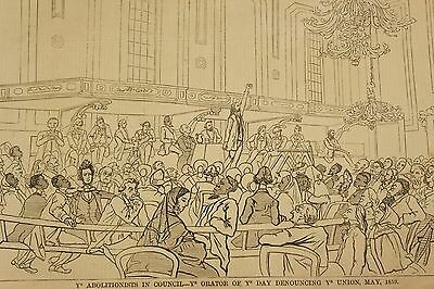 1859 US Civil War Harper's Weekly Abolitionists in Council Denouncing Union