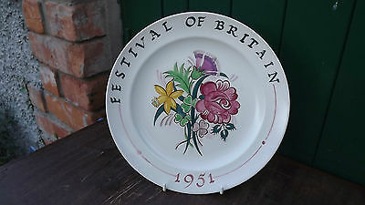 RARE 1951 Festival of Britain Poole Pottery Large Plate Floral design