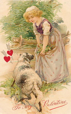 Nister Valentine - Victorian Girl and her Lamb