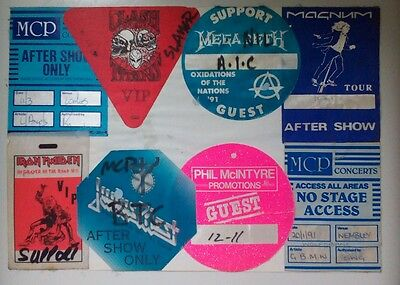 Backstage passes. Inc, Maiden, Clash of Titans, Megadeath, Judas Priest, AIC.