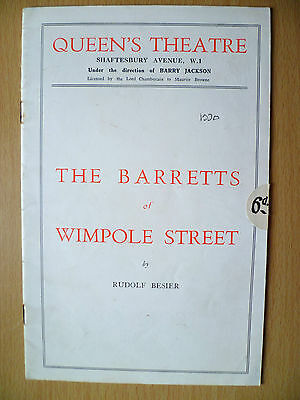 QUEEN'S THEATRE PROGRAMME 1930- THE BARRETTS of WIMPOLE STREET by Rudolf Besier