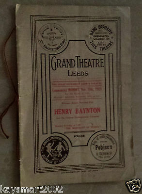 1928 Grand Theatre Programme: HENRY BAYNTON in THE MERCHANT OF VENICE