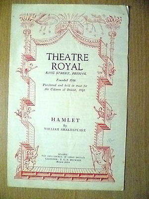 Theatre Royal Programme - THE TRAGEDY OF HAMLET by W Shakespeare