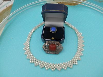 Estate Collection Mixed Lot Pearl Necklace Art Deco Sterling Marcasite Pin Ring
