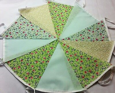 10ft 3m Green Bunting Weddings Vintage Shabby Chic Single ply 10 flags 10 green