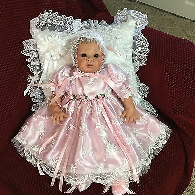 DRESS   for NEWBORN BABY  or REBORN DOLL  PINK TULLE PEARLS