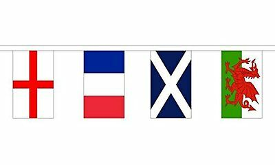 "5 Metres 12 Flag (9"" x 6"") Rugby 6 Six Nations Countries Country Bunting Flags"