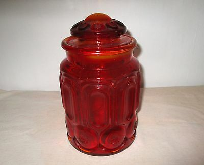 """Vintage Ruby Red Moon & Stars Glass Canister by L. E. Smith & Co.  9 1/2""""."""