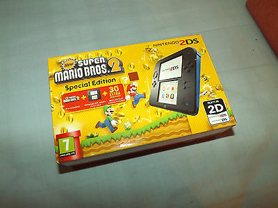 Boxed Nintendo 2DS Handheld Console in box with New Super Mario Bros Brothers 2