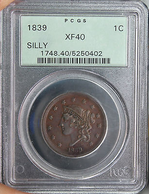 #~☆SILLY HEAD☆~ XF-40 1839 Coronet Matron Head Large Cent PCGS in an OGH