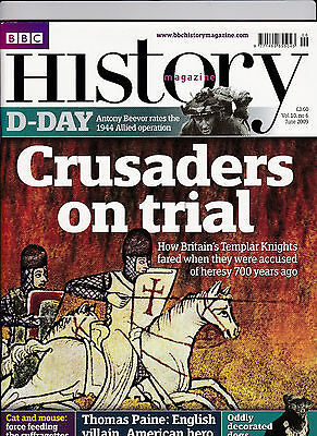 BBC HISTORY Magazine June 2009 - CRUSADERS ON TRIAL (Knights Templar) Cover