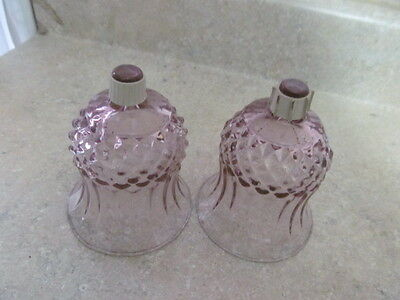 Home Interior  Set Of 2 Cranberry/plum Cathedral Votive Cups / Candle Holders