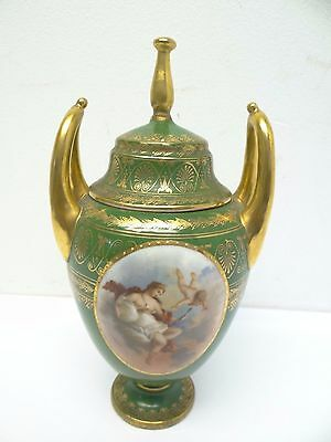 Antique Austrian China Decorative Painted Gold Green Decorative Cherub Juno Urn