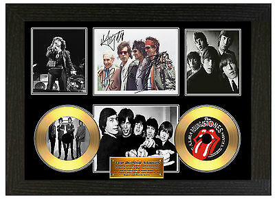 The Rolling Stones - A3 Signed Framed Gold Vinyl Collectors Cd Display Picture