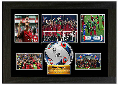 Portugal 2016 Euro Champions / Ronaldo   - A3 Signed Framed Collectors Display