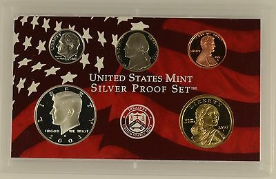 USA 2003 s 5 COIN SILVER PROOF YEAR SET - sealed