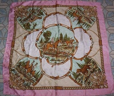 100% Silk Scarf English Riders Victorian Lady Rider Dogs Made in Italy