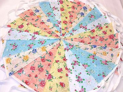 20ft/6m Vintage mixed Floral Bunting Wedding ,shabby chic handmade 20clea...