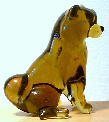 """Hand Blown """"murano"""" Glass Collectable Sitting Chow Chow  Dog Figurine"""